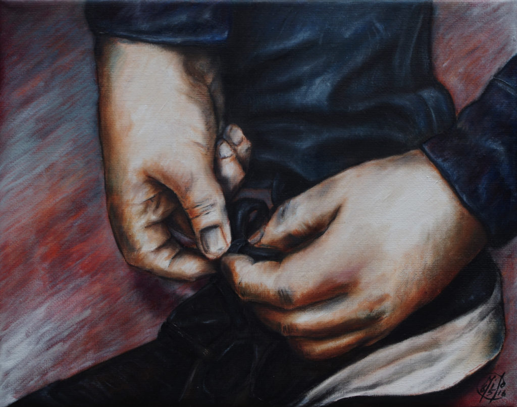 Shoe Tying - Oil on Canvas - 2016
